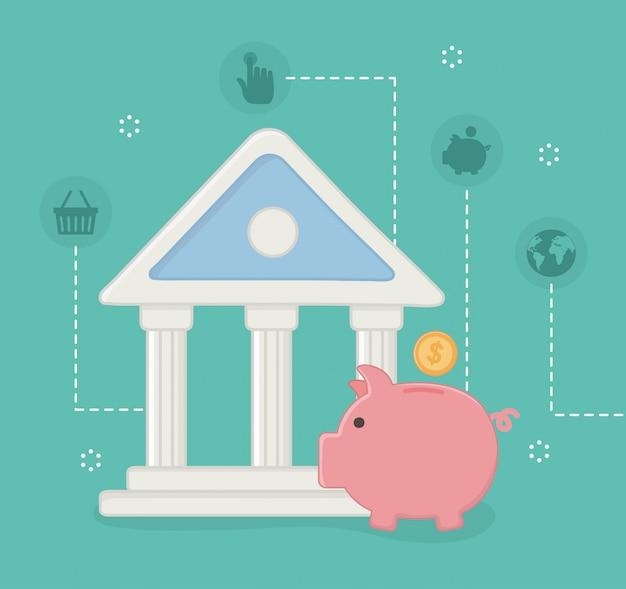 Conjunto de ícones on-line de pagamento Vetor grátis