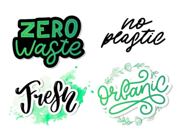 Conjunto de ícones orgânicos caligráficos desenhados à mão zero desperdício, vegan, salvar o planeta, sem plástico Vetor Premium