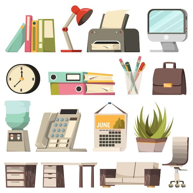 Conjunto de ícones ortogonais de escritório Vetor grátis