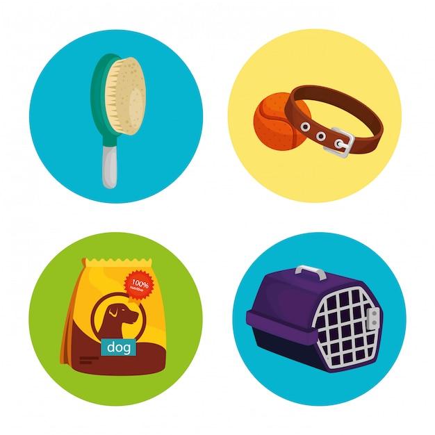 Conjunto de ícones para animais no quadro circular Vetor Premium