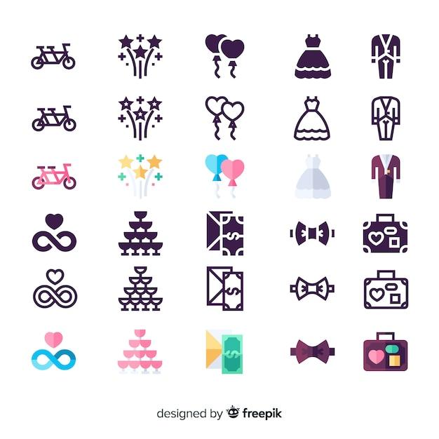 Conjunto de ícones para casamento Vetor grátis