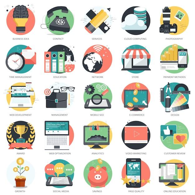 Conjunto de ícones para negócios e tecnologia Vetor Premium