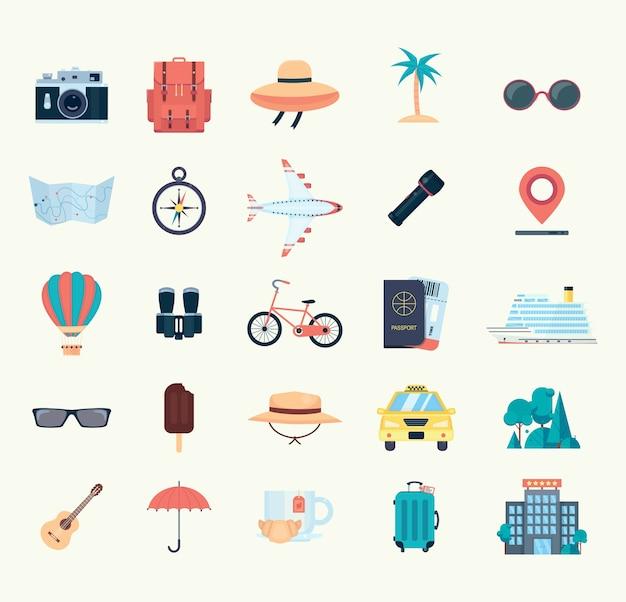 Conjunto de ícones para viagens. ilustração em vetor plana isolada no fundo branco Vetor Premium