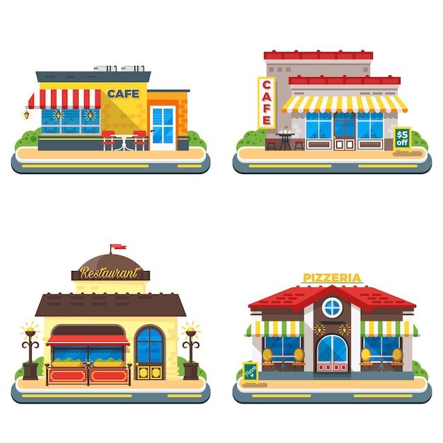 Conjunto de ícones plana cafe 2 x 2 Vetor grátis