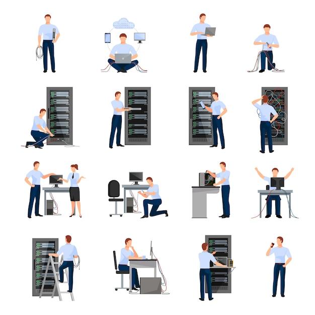 Conjunto de ícones plana de administrador do sistema Vetor grátis