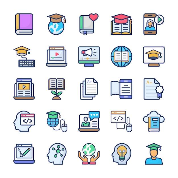 Conjunto de ícones plana de aprendizagem on-line Vetor Premium