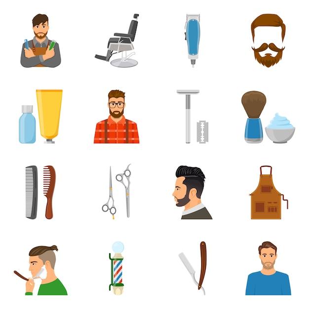 Conjunto de ícones plana de barbeiro Vetor grátis