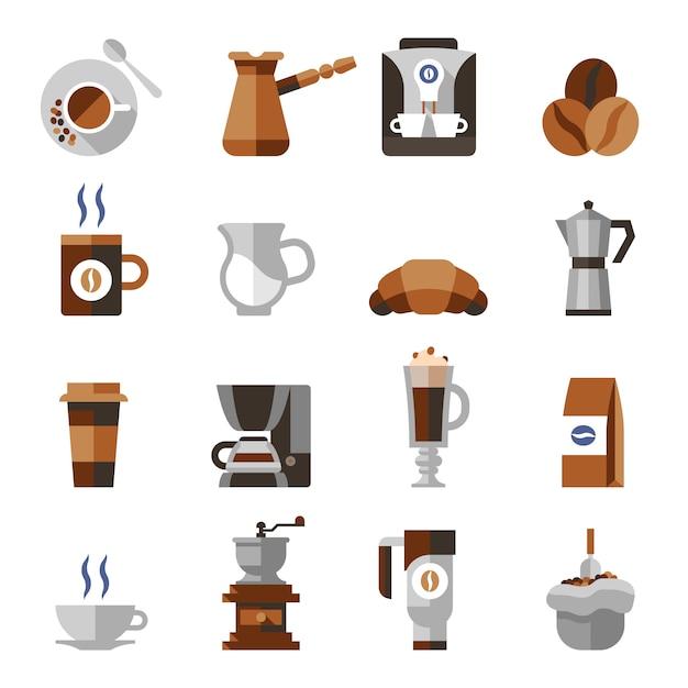 Conjunto de ícones plana de café Vetor grátis