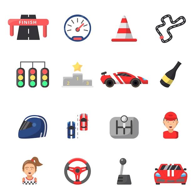 Conjunto de ícones plana de carros de fórmula um e símbolos de corrida Vetor Premium