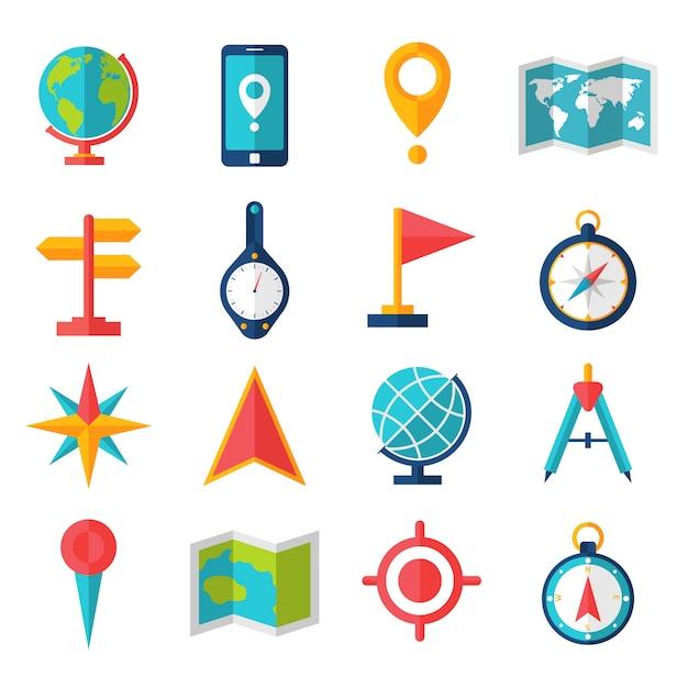 Conjunto de ícones plana de cartografia Vetor grátis