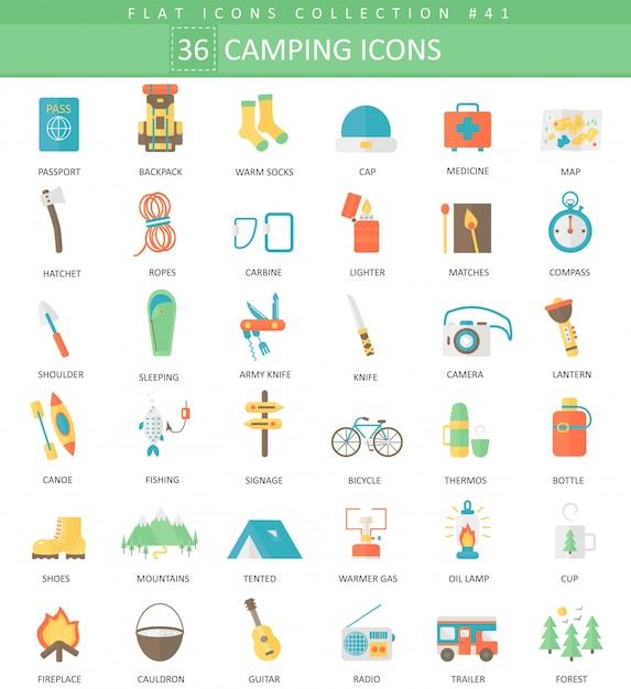 Conjunto de ícones plana de cor camping Vetor Premium