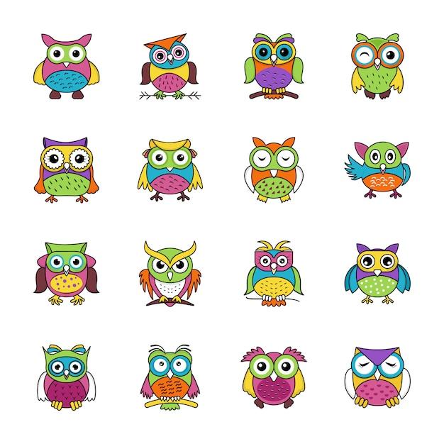 Conjunto de ícones plana de corujas Vetor Premium