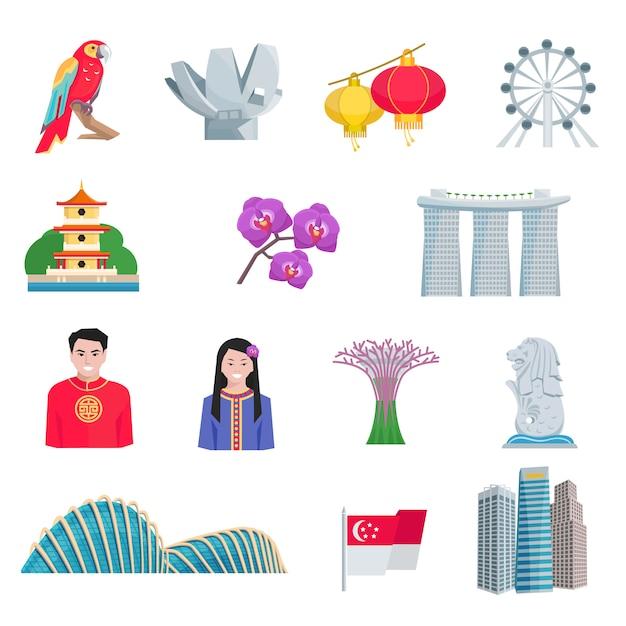 Conjunto de ícones plana de cultura de cingapura Vetor grátis