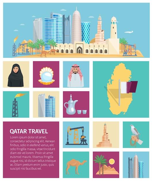 Conjunto de ícones plana de cultura do qatar Vetor grátis