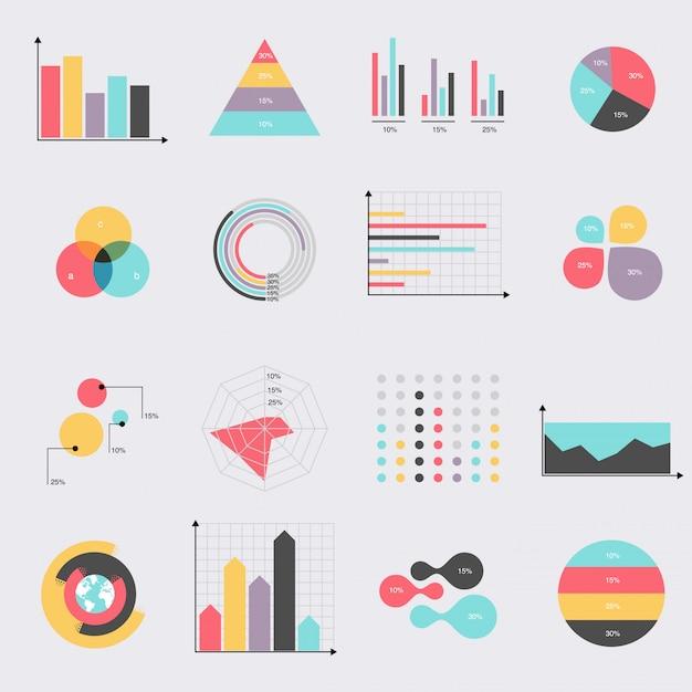 Conjunto de ícones plana de diagramas e gráficos de tabelas Vetor Premium