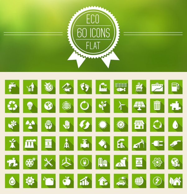 Conjunto de ícones plana de ecologia Vetor Premium