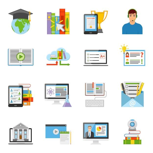 Conjunto de ícones plana de educação on-line Vetor grátis
