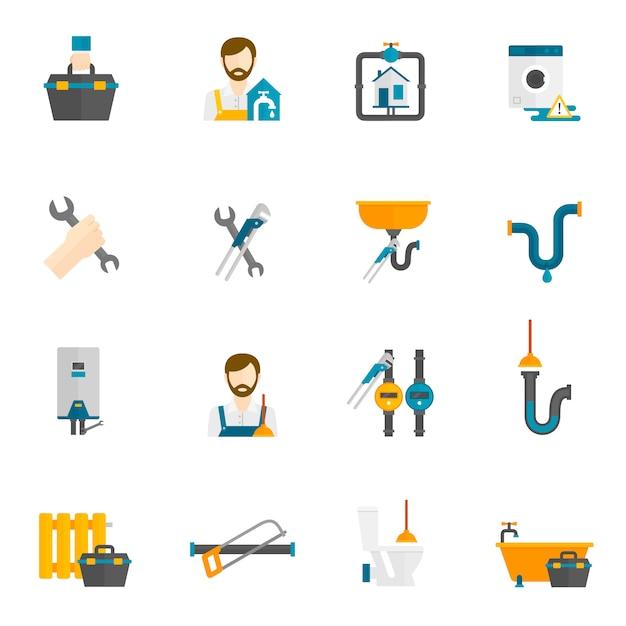 Conjunto de ícones plana de encanador Vetor grátis