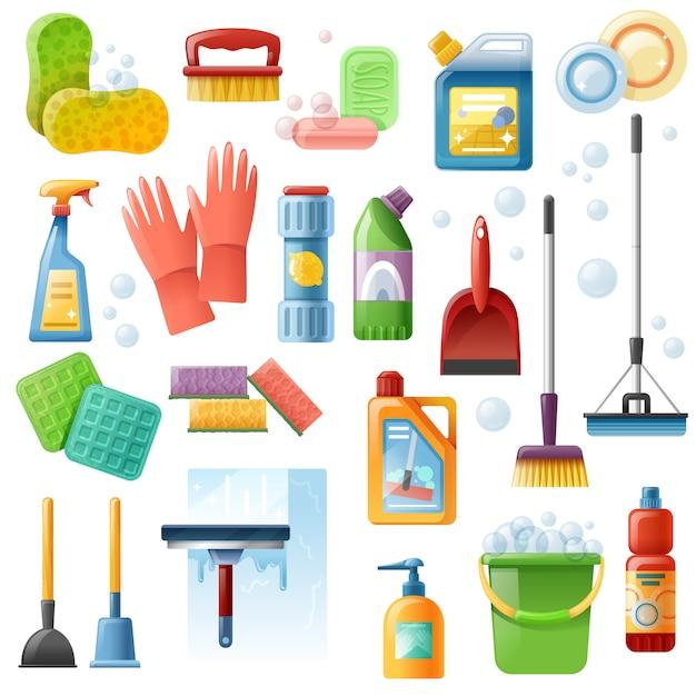 Conjunto de ícones plana de ferramentas de suprimentos de limpeza Vetor grátis