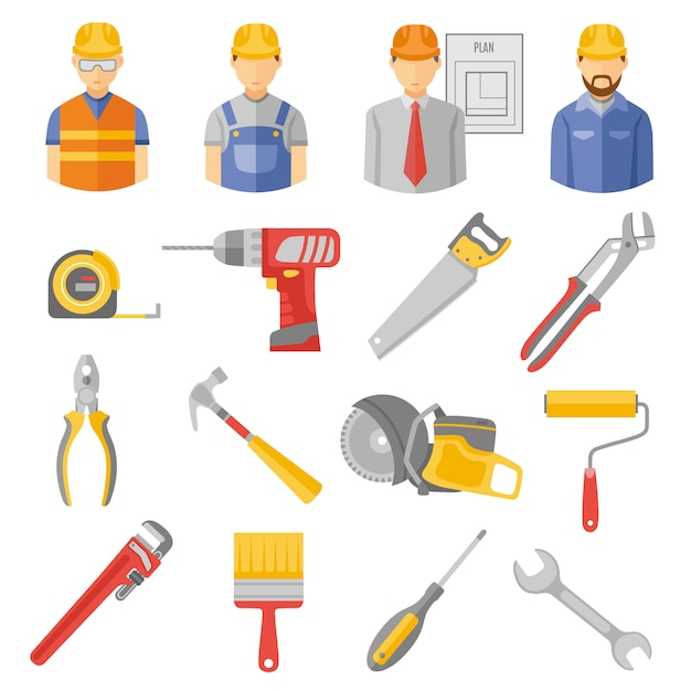 Conjunto de ícones plana de ferramentas de trabalhadores de construção Vetor grátis
