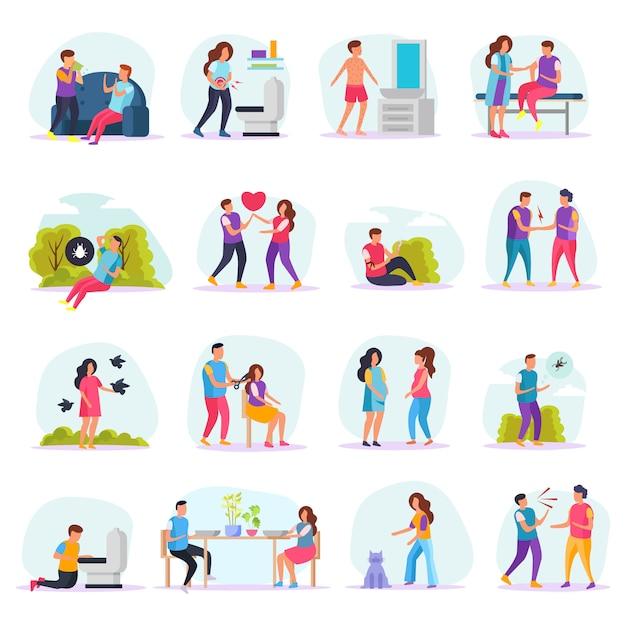 Conjunto de ícones plana de formas de transmissão de doenças com pessoas que se comunicam com doentes ou insetos ou na barbearia Vetor grátis