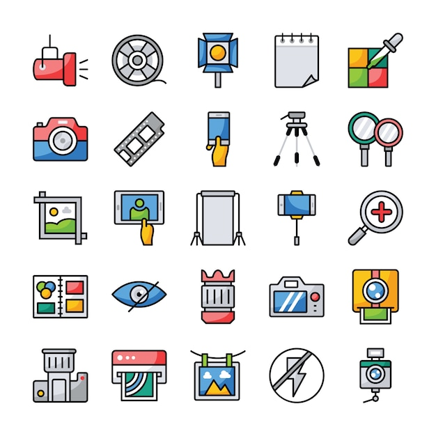 Conjunto de ícones plana de fotografia e gráficos Vetor Premium