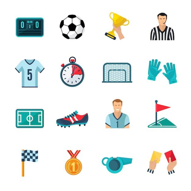 Conjunto de ícones plana de futebol Vetor grátis