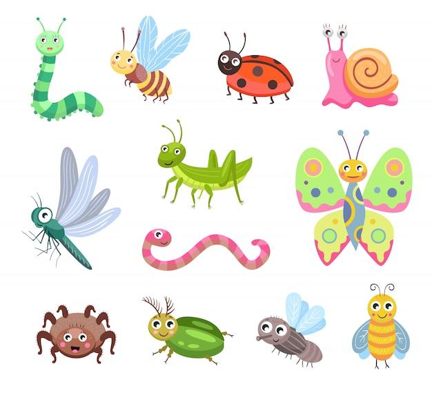 Conjunto de ícones plana de insetos sorridentes engraçados Vetor grátis