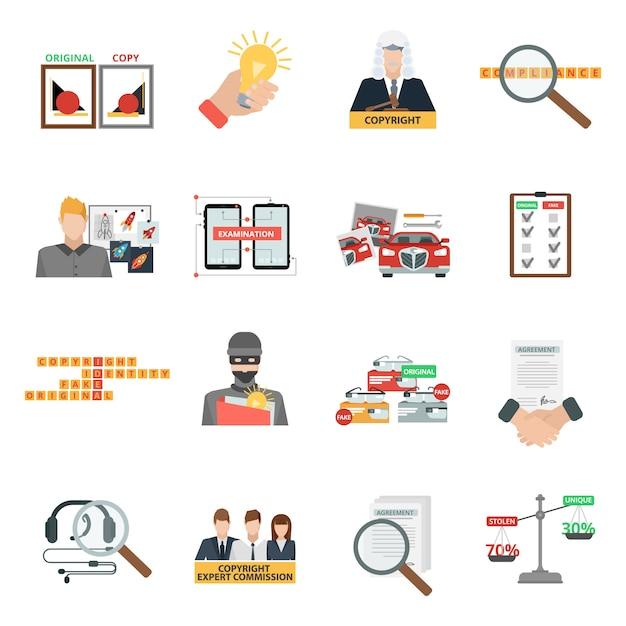 Conjunto de ícones plana de lei de direitos autorais de conformidade Vetor grátis