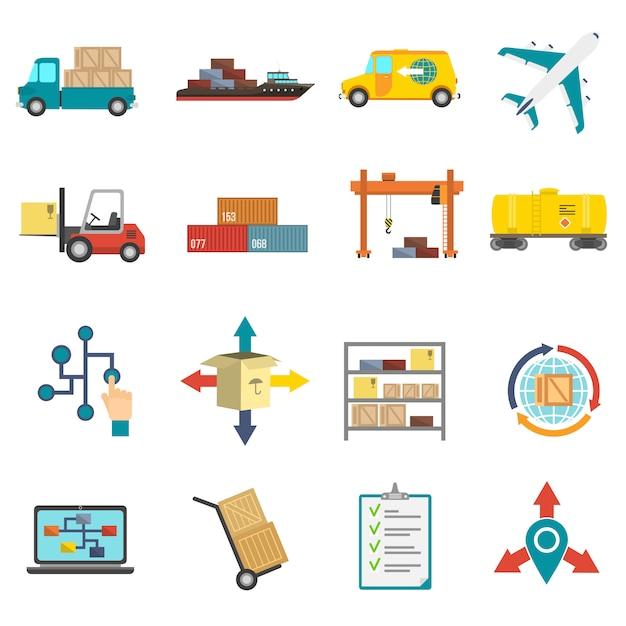Conjunto de ícones plana de logística Vetor grátis