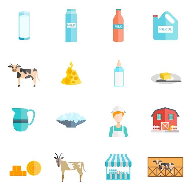 Conjunto de ícones plana de produtos lácteos leite Vetor Premium