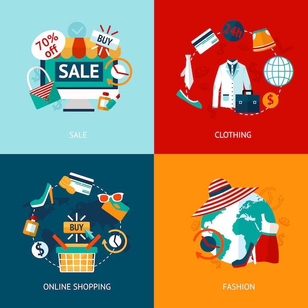 Conjunto de ícones plana de roupas compras Vetor Premium