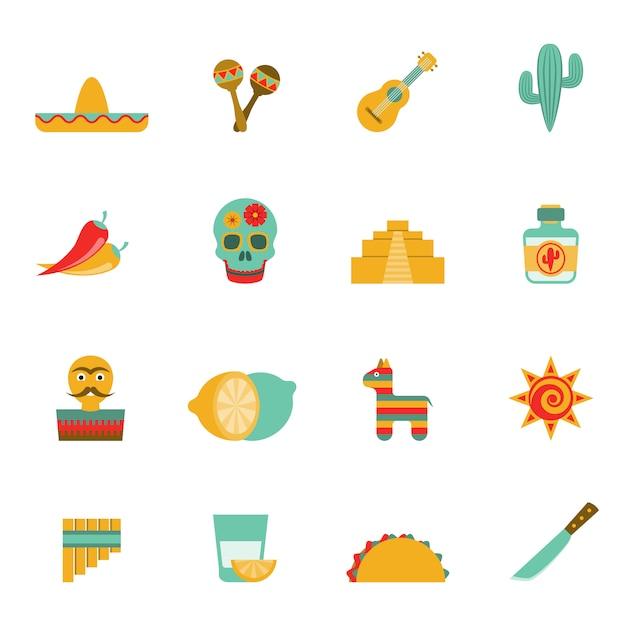 Conjunto de ícones plana de símbolos de cultura mexicana Vetor grátis