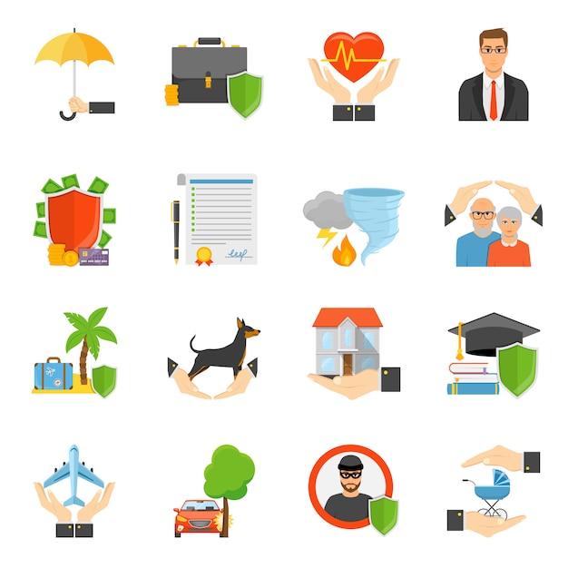 Conjunto de ícones plana de símbolos de empresas de seguros Vetor grátis