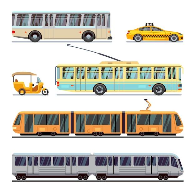 Conjunto de ícones plana de transporte municipal da cidade Vetor Premium