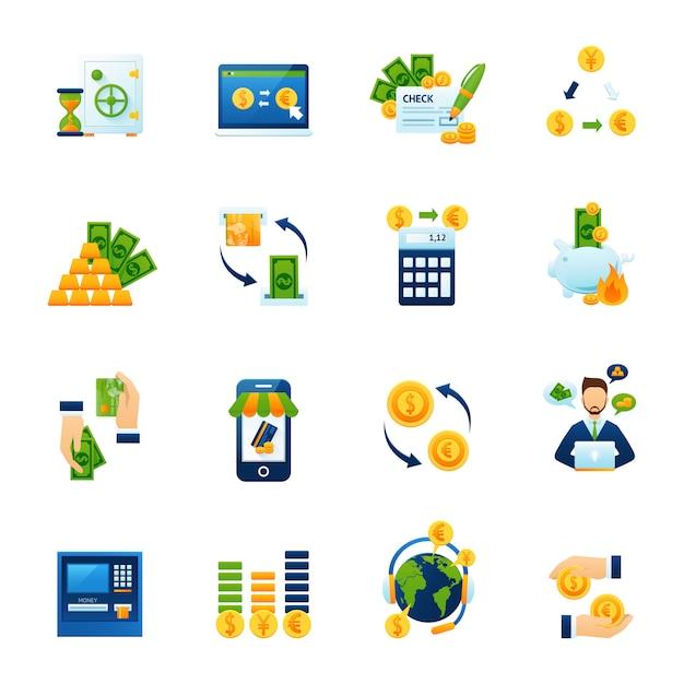 Conjunto de ícones plana de troca de moeda Vetor grátis
