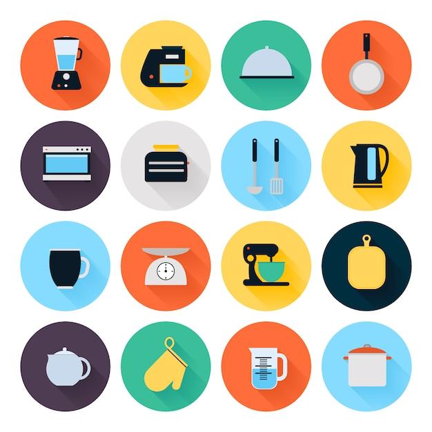 Conjunto de ícones plana de utensílios de cozinha e utensílios de cozinha Vetor Premium