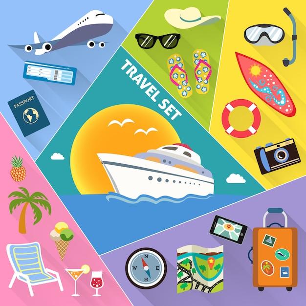 Conjunto de ícones plana de viagens Vetor grátis