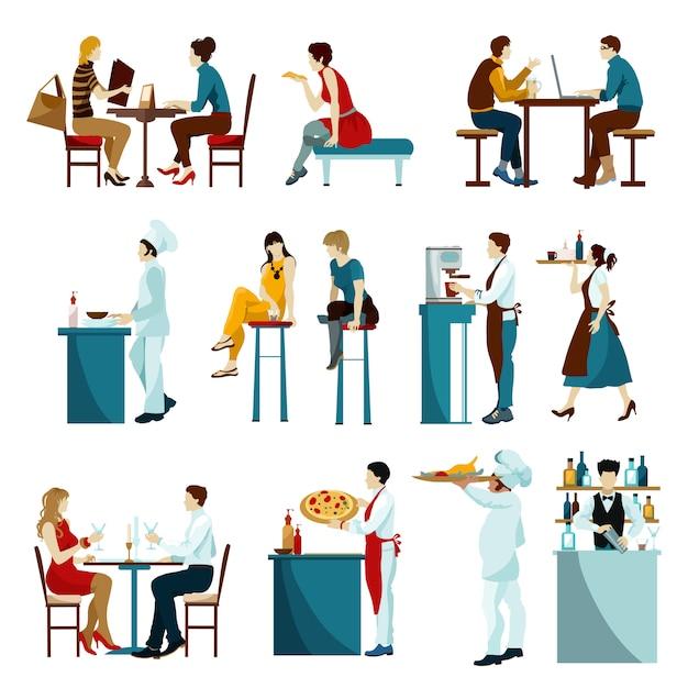 Conjunto de ícones plana de visitantes de restaurante Vetor grátis