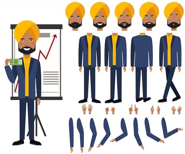 Conjunto de ícones plana de vistas de homem de negócios indiano, poses e emoções Vetor grátis