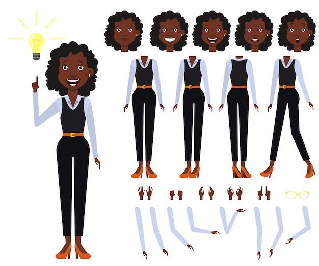 Conjunto de ícones planas de exibições de mulher de negócios preto, poses e emoções Vetor grátis