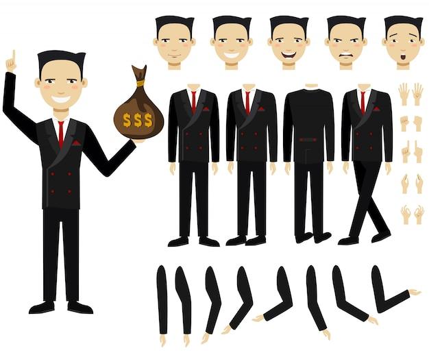 Conjunto de ícones planas de homem de negócios, segurando o saco de dinheiro Vetor grátis