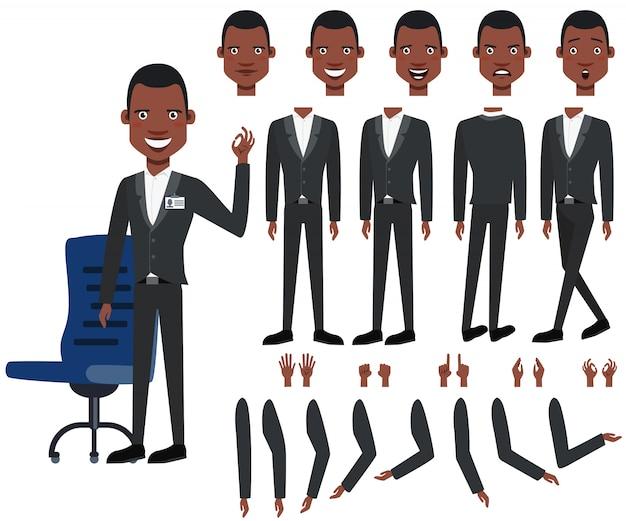 Conjunto de ícones planas de pontos de vista de chefes negros, poses e emoções Vetor grátis