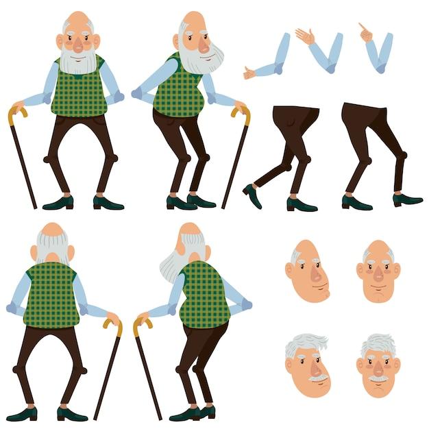 Conjunto de ícones planas do velho homem com vara Vetor grátis