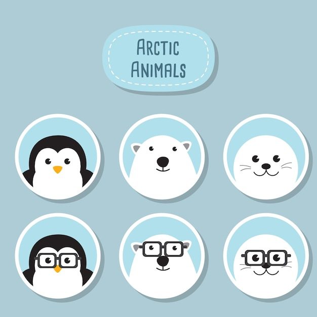 Conjunto de ícones planos de animais árticos. um bonito pingüim, urso polar e selo de bebê com óculos nerd engraçados. animais personagens geek hipster. Vetor Premium