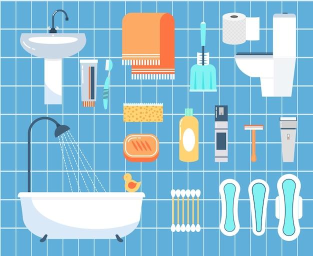 Conjunto de ícones planos de higiene pessoal. palito, lâmina e escova, guardanapo e banheiro Vetor grátis