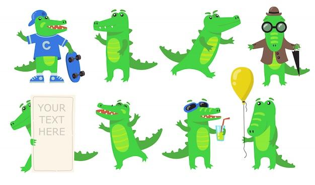 Conjunto de ícones planos de vários personagens de crocodilo verde Vetor grátis