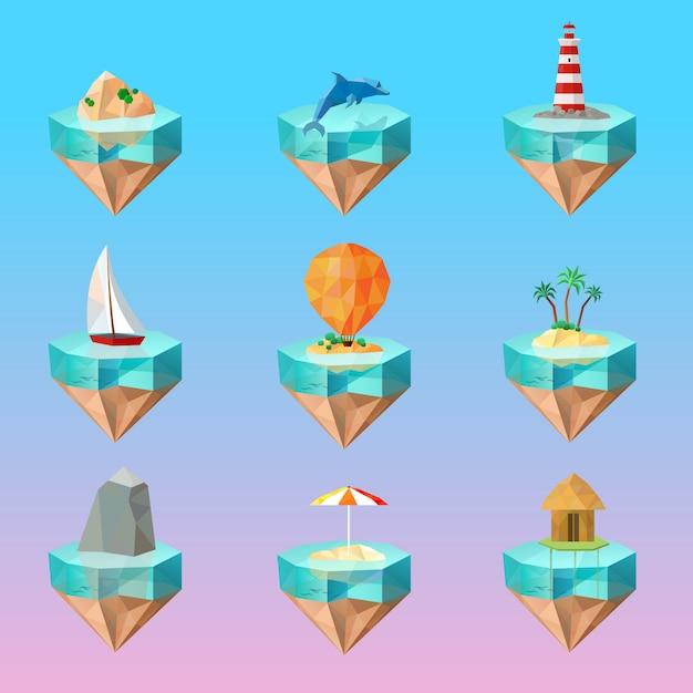 Conjunto de ícones poligonais de símbolos ilha tropical Vetor grátis
