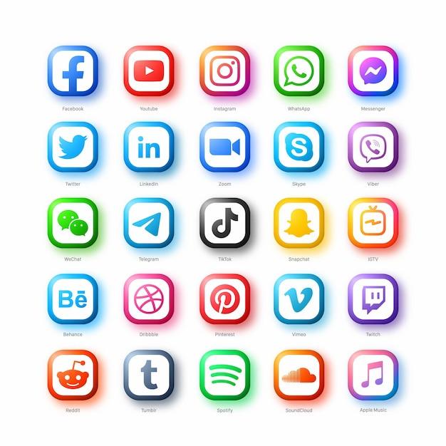Conjunto de ícones populares de redes de mídia social em estilo moderno em fundo branco Vetor Premium
