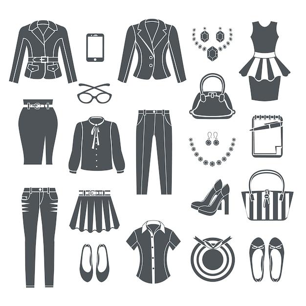 6e45210fb Conjunto de ícones pretos de coleção de roupas de mulher moderna de vestido  calça blusa calça